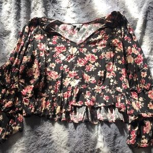 Black floral ruffle top